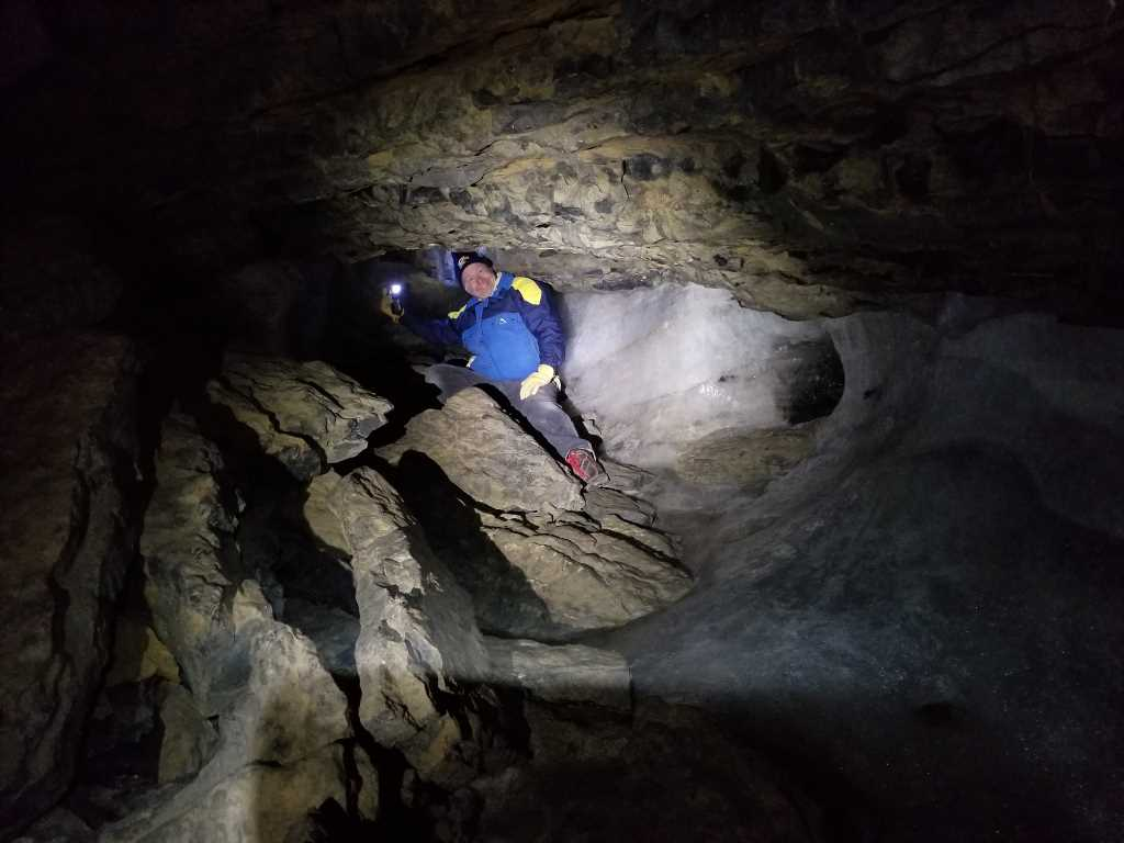 Madman Pierre aka Peter Horwood, spelunking in the ice caves